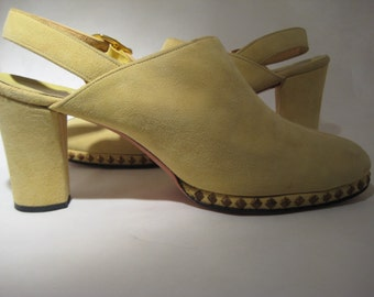 Vintage Suede Sling Backs with Stacked Heels - Size 7