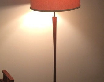 Scandanavian Mid-century floor lamp Walnut 6 Way light Danish Modern taper