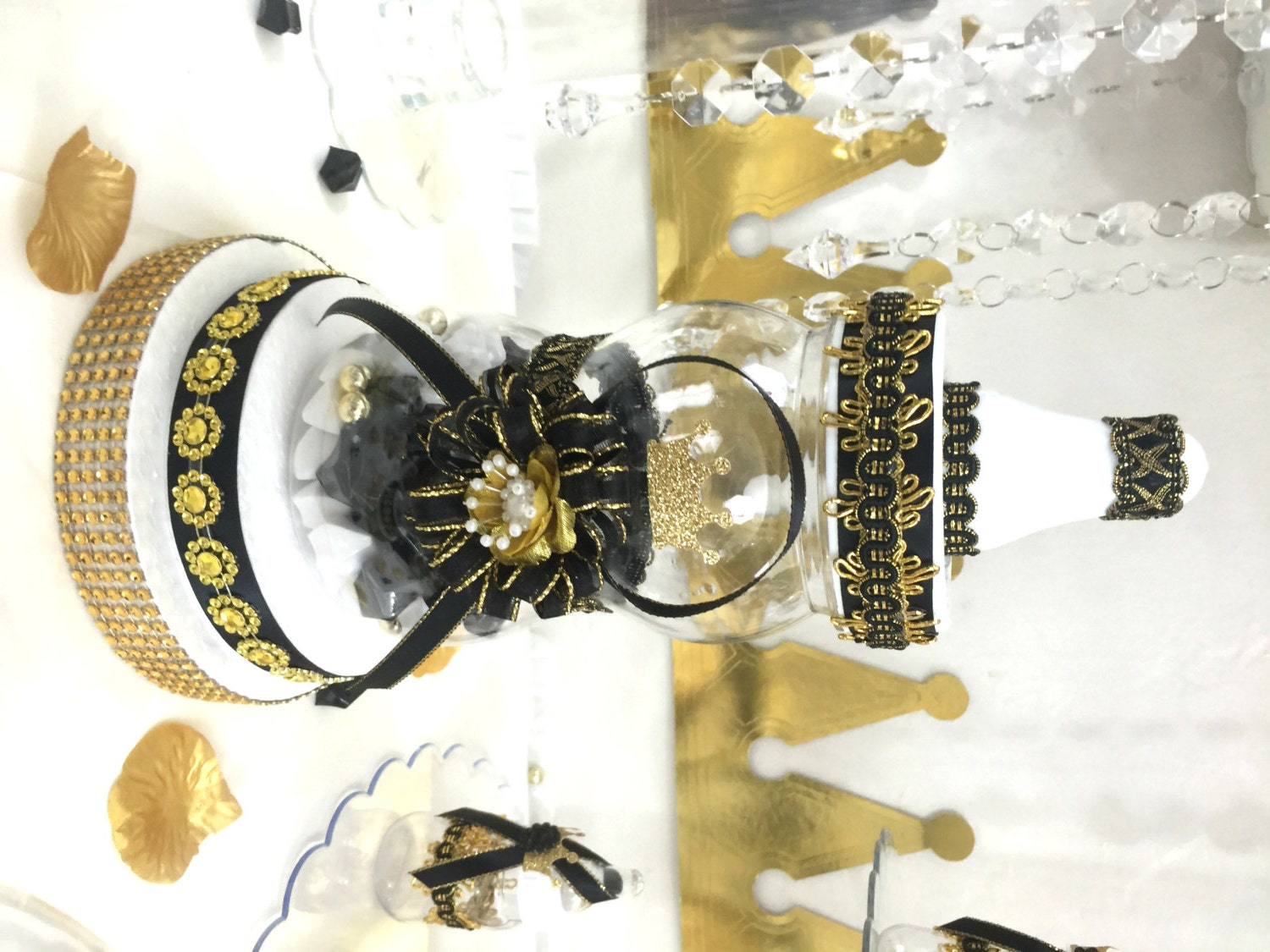 Black gold baby shower centerpiece for prince