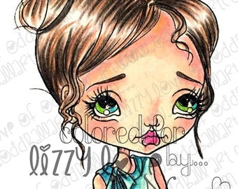 Instant Download Kawaii Sweet Girl Digital Stamp Set with Sentiments ~ Kiki Says... Image No. 287 by Lizzy Love