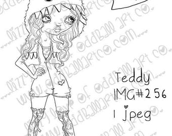 INSTANT DOWNLOAD Digi Stamp Digital Image Whimsical Big Eye Girl in Monster Hood ~ Teddy Image No. 256 by Lizzy Love