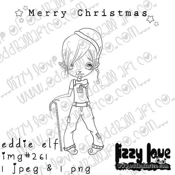 INSTANT DOWNLOAD Digi Stamp Includes Sentiment Kawaii Christmas ~ Eddie Elf Image No.261  by Lizzy Love