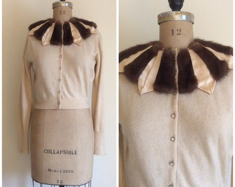 1950s Mink Satin Collar Cashmere Cardigan Sweater Vintage 50s Saks Fifth Avenue