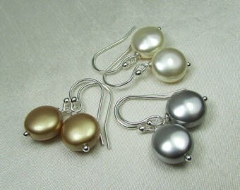 Bridesmaid Jewelry - Coin Pearl Earrings - Bridal Earrings - Swarovski Crystal Bridal Jewelry - Bridesmaid Gift - Wedding Jewelry