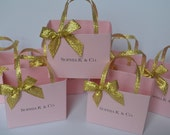 Pink  party favor bags with gold ribbon, personalized for you