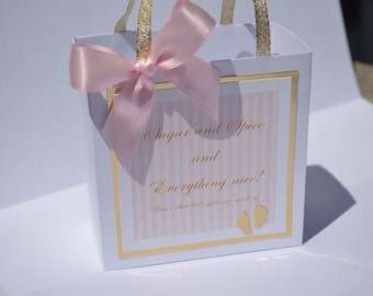 Sugar and Spice and Everything nice, Elegant party favor bag, baby shower, Pink and Gold