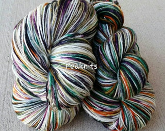 "Hand Dyed Yarn, Sock Weight ~ ""Octoberfest"" ~ Green, Black, Purple, Orange and White Multi Strand 2 Ply Superwash Wool/Nylon Blend, OOAK"