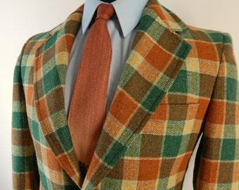 Vintage 1970s Palm Beach Sport Coat. Bold Plaid Wool Jacket. Orange Green and Cream Tweed. Size 38 39