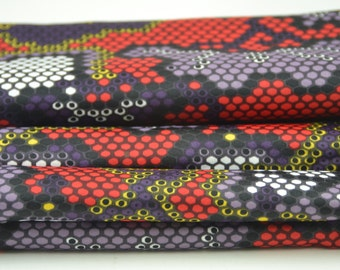 Vintage Geometric Fabric Purple Yellow Red Fabric by the yard