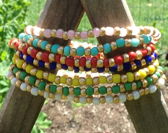 Colorful Stackable Seed Bead Bracelet-Beach Bracelets-BOHO-Beaded Stretch Bracelet-Bracelet or Anklet