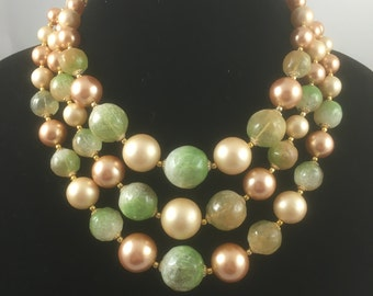 Three Strand Vintage Necklace in Greens and Taupes