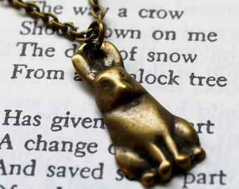 Bronze Bunny Rabbit Hare Chain Necklace