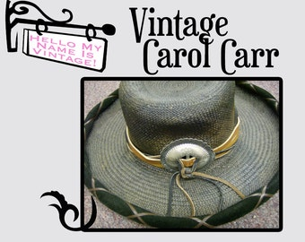Vintage Carol Carr Hat- Black Snakeskin Straw Cowgirl Western Hat- Rodeo Girl- Gypsy Style- Country Woman- Bohemien- Leather- Large Concha