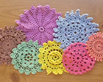 7 Hand Dyed Crochet Doilies, Colorful Craft Doilies in a Rainbow of Color