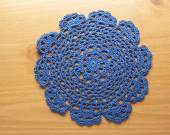 Dark Blue Crochet Doily, 7 inch Crocheted Table Doily, Party Decor
