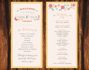 Wedding Program - Festive Colors and Flowers  - Printable or Print Options