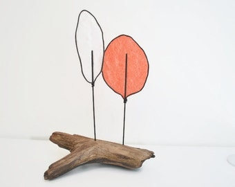 Driftwood Wire Tree Sculpture - Modern Minimalist - Nature Art - Whimiscal