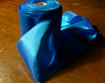 4.5 Inch Wide Ribbon , Bias Taffeta Ribbon ,  Electric Blue Ribbon , Ribbon by the Yard