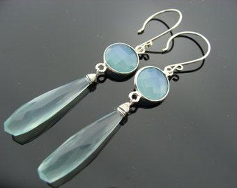 Long Aqua Blue 925 Sterling Silver Chalcedony Earrings