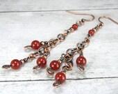 Women's BOHO Copper & Carnelian Dangle Earrings, Antiqued Copper Chain Earrings