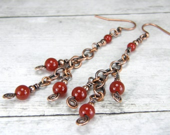 Carnelian Earrings, Copper Earrings, Antiqued Copper Chain Earrings