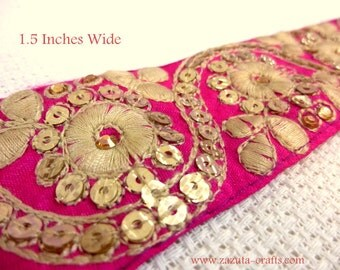 Pink floral embroidered trim - Decorative fabric trims- Embroidered Fabric trims- Pink Fabric Trims