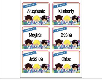 Daisy Girl Scout Name Tag Stickers - Printable - Instant Download