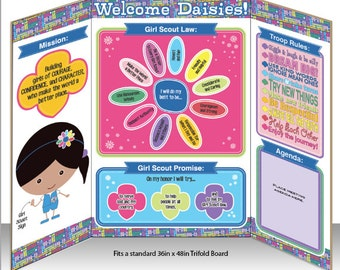 Daisy Girl Scout Meeting Information Display Board - Printable Instant Download