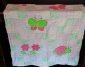 Pink and Green Quilt for a Baby or Toddler made with Flannel an Chenille Fabric and White Minky Dot with Soft Appliques