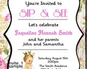 Sip and See Invitation//Vintage Baby Girl Sip and See Party//Princess//Digital JPEG File #1