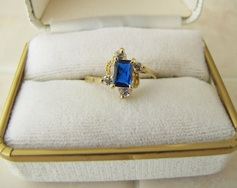14K Gold CZ Sapphire Ring, Size 8, SALE