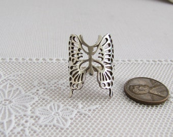 Vintage Filigree Butterfly Sterling Silver Ring size 6.5