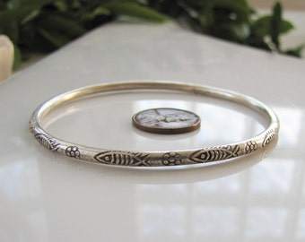 Solid Etched Sterling Silver Bangle Bracelet, Fish and Flower bracelet, Boho bracelet