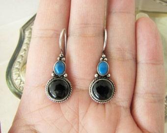 Vintage Onyx Turquoise Sterling silver earrings