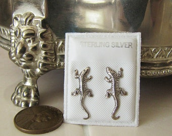 Lizard Gecko Sterling Silver Stud Earrings, gothic, Sale