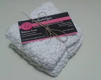 Reusable Crocheted Cotton Dishcloths, Washcloths, Set of 2, White with Silver Tinsel