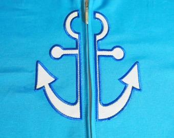 Split anchor applique split embroidery for hoodie, front embroidery - Machine embroidery applique designs  INSTANT DOWNLOAD