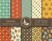 50% Off Leaves Paper Pack - 10 Digital papers - 12 x12 - 300 DPI