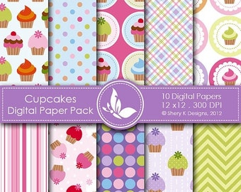 50% off Cupcakes Paper Pack - 10 printable Digital Scrapbooking papers - 12 x12 - 300 DPI