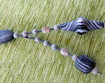 Monochromatic Long Beaded  WENDY Necklace in Stone Polymar Clay Feature beads and Metal beads with some Retro Shapes