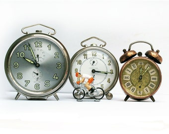 Set of 3 French vintage metal alarm clock collection, made in France, Jaz and Japy