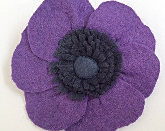 Purple anemone felt brooch