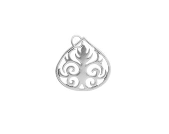 Sterling Silver 23x20mm Teardrop with Scrollwork Leaf Charm - 1pc 10% discounted High Quality Shiny Charms (5975)/1