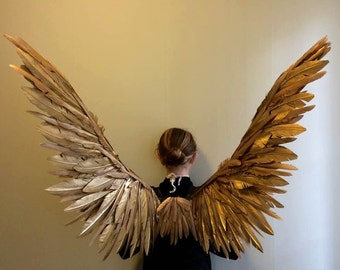 Gold Maleficent Miss Peregrine costume Cosplay Fairy bird Wings
