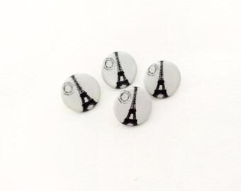 4 Eiffel Tower Buttons, Black & White, Metal, Paris, France
