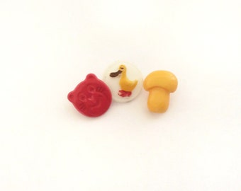 Kids Buttons, Duck, Bear, Mushroom, Red, White,Yellow, Vintage, Children Buttons