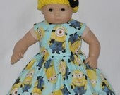 Handmade Minion Inspired Dress and Yellow Crocheted Hat and Flower Fits American Girl Bitty Baby and Twins