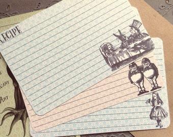 Vintage Stlye Alice in Wonderland Recipe Cards