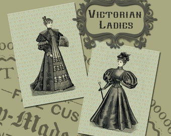 Handmade Vintage Style Victorian Lady Fashion Print Set from Curious London