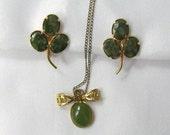 Vintage Genuine Jade Earrings 12K Gold Filled P Inc Pendant Necklace Gold Fill